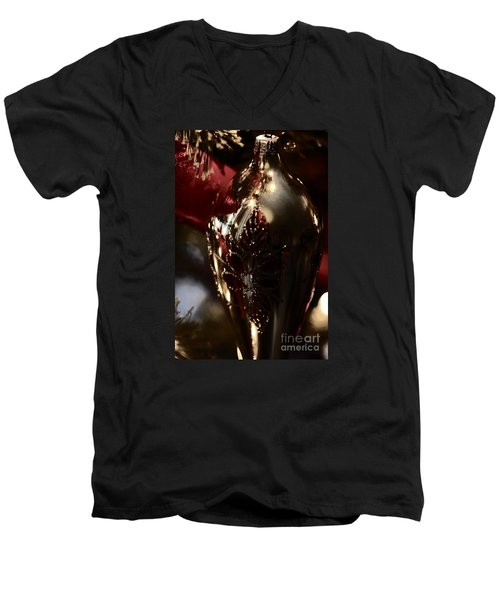 Men's V-Neck T-Shirt featuring the photograph Holiday Sparkle In Red by Linda Shafer