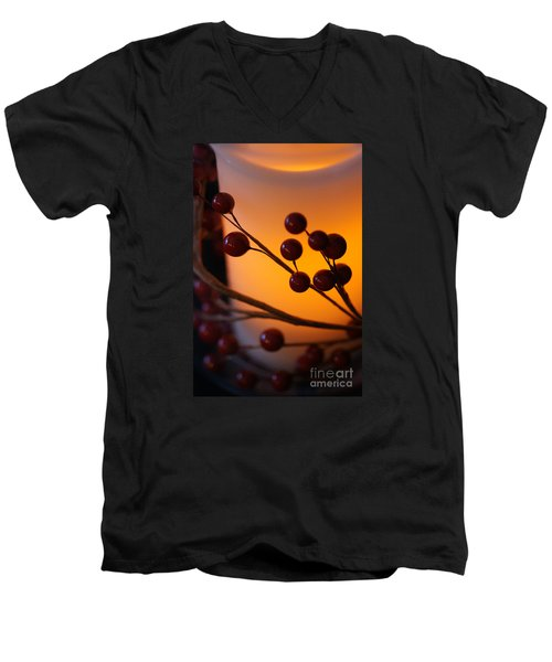Men's V-Neck T-Shirt featuring the photograph Holiday Warmth By Candlelight 1 by Linda Shafer