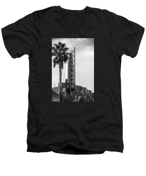Hollywood Landmarks - Hollywood Theater Men's V-Neck T-Shirt by Art Block Collections