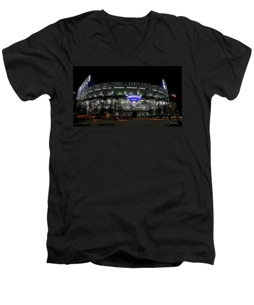 Men's V-Neck T-Shirt featuring the photograph Home Of The Cleveland Indians by Terri Harper