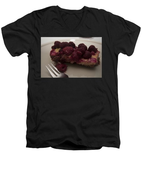 Men's V-Neck T-Shirt featuring the photograph Homemade Cheesecake by Miguel Winterpacht