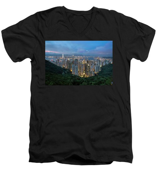Hong Kong From Sky Terrace 428 At Victoria Peak Men's V-Neck T-Shirt