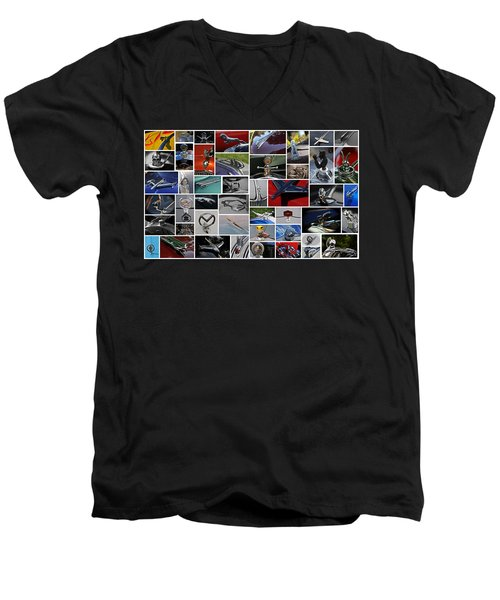 Hood Ornament Collage Men's V-Neck T-Shirt by Mike Martin