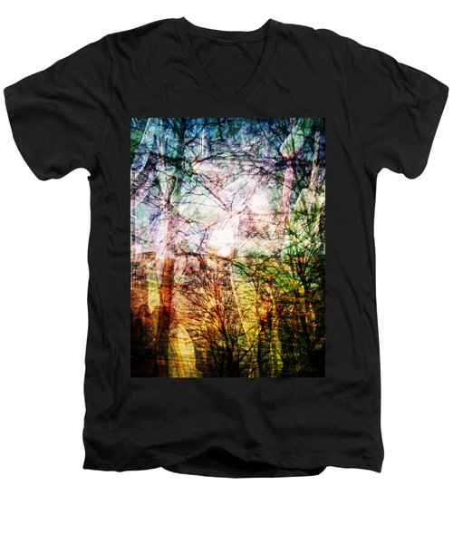 Men's V-Neck T-Shirt featuring the mixed media Hoosier Country Opus 1 by Sandy MacGowan