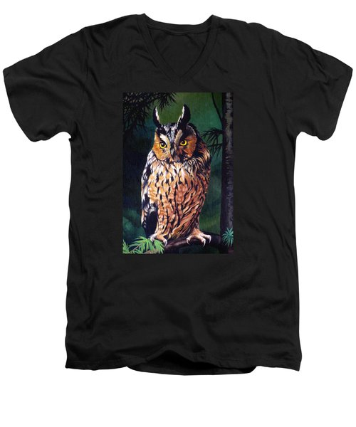 Hoot Owl Men's V-Neck T-Shirt by Vivien Rhyan