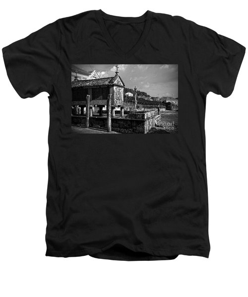 Horreo And Cruceiro In Galicia Bw Men's V-Neck T-Shirt