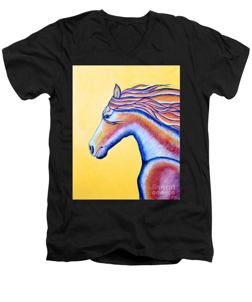 Men's V-Neck T-Shirt featuring the painting Horse 1 by Joseph J Stevens