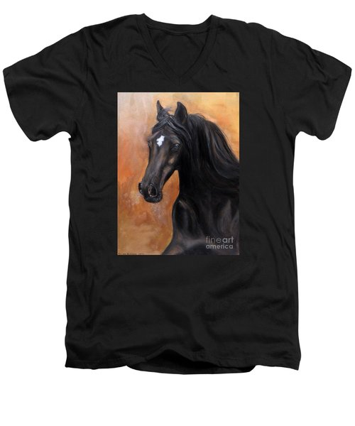 Men's V-Neck T-Shirt featuring the painting Horse - Lucky Star by Go Van Kampen