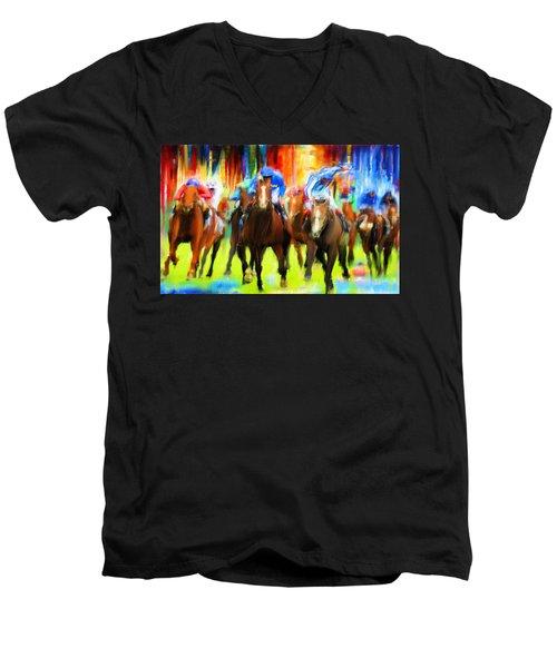 Horse Racing Men's V-Neck T-Shirt