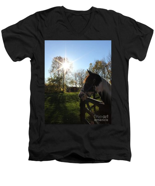 Horse With Sunburst Men's V-Neck T-Shirt