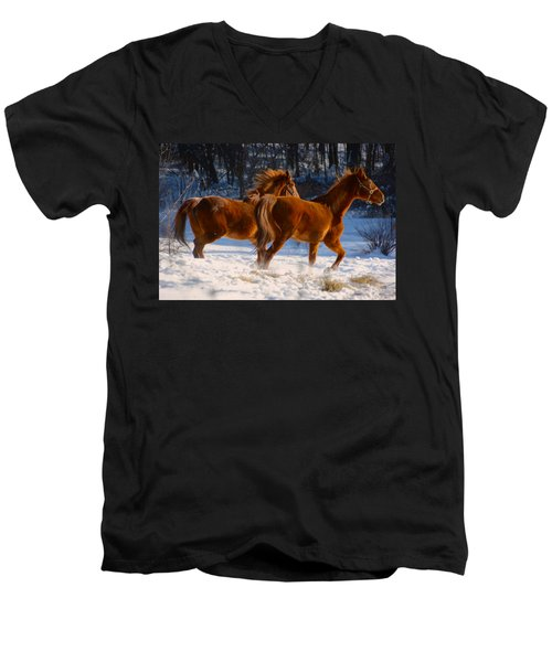 Horses In Motion Men's V-Neck T-Shirt