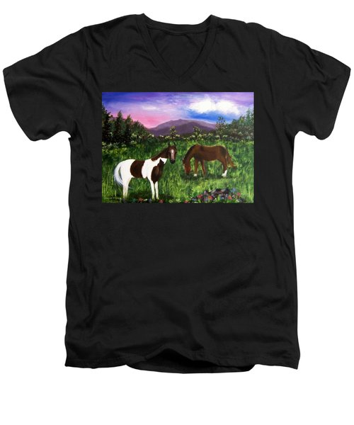 Men's V-Neck T-Shirt featuring the painting Horses by Jamie Frier