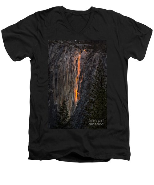 Men's V-Neck T-Shirt featuring the photograph Horsetail Falls by Vincent Bonafede