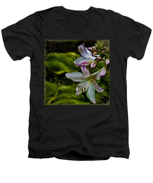 Hosta Lilies With Texture Men's V-Neck T-Shirt