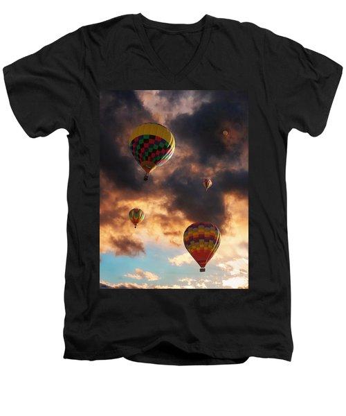 Hot Air Balloons - Chasing The Horizon Men's V-Neck T-Shirt