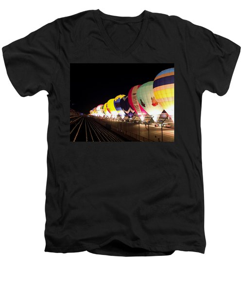 Balloon Glow Men's V-Neck T-Shirt by John Swartz