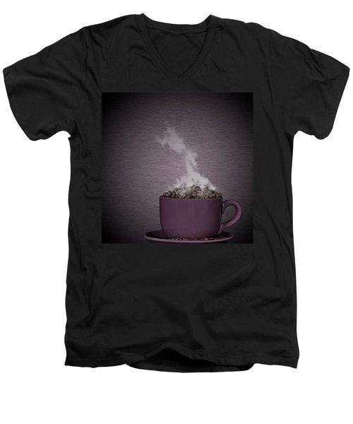 Men's V-Neck T-Shirt featuring the photograph Hot Coffee by Gert Lavsen