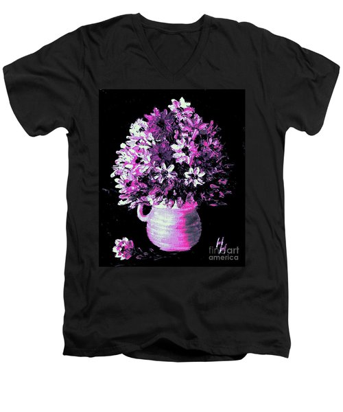 Hot Pink Flowers Men's V-Neck T-Shirt by Hazel Holland