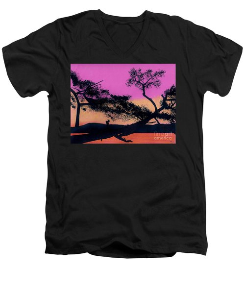 Men's V-Neck T-Shirt featuring the drawing Hot Pink Sunset by D Hackett