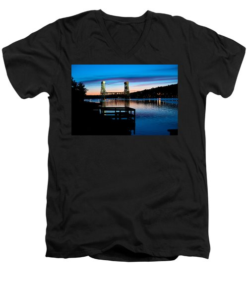 Houghton Bridge Sunset Men's V-Neck T-Shirt