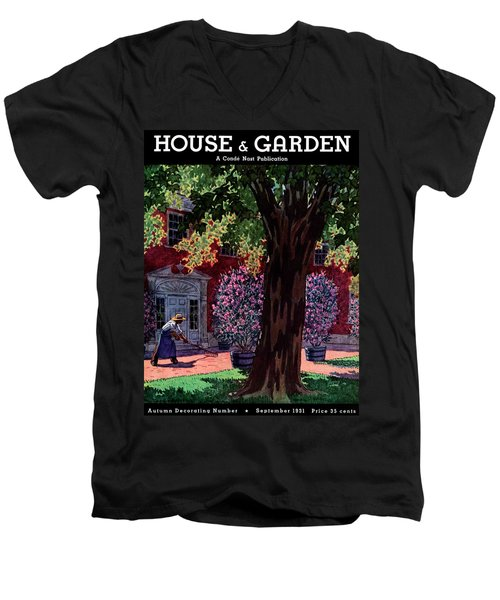 House & Garden Cover Illustration Of A Gardener Men's V-Neck T-Shirt