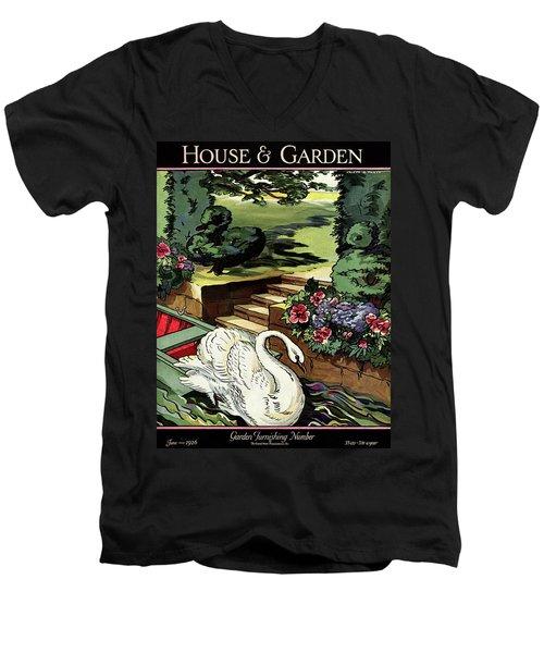 House & Garden Cover Illustration Of A Swan Men's V-Neck T-Shirt