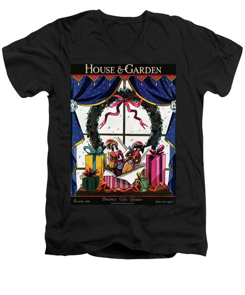 House & Garden Cover Illustration Of Christmas Men's V-Neck T-Shirt