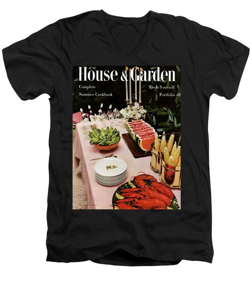 House And Garden Cover Featuring A Buffet Table Men's V-Neck T-Shirt