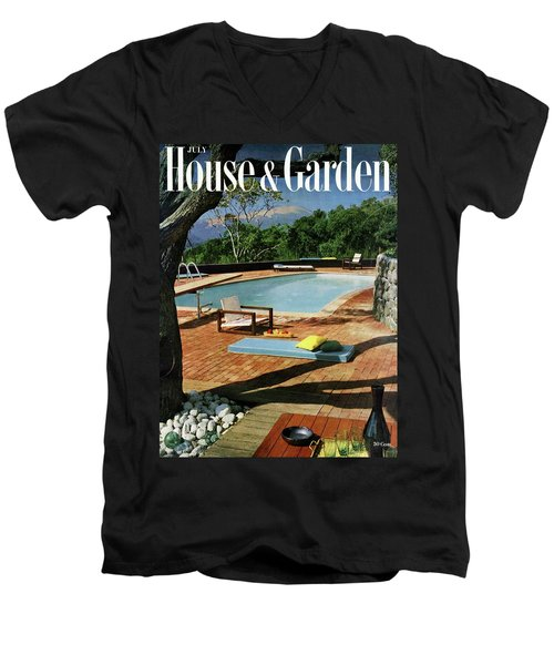 House And Garden Cover Featuring A Terrace Men's V-Neck T-Shirt