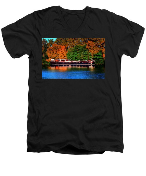 Men's V-Neck T-Shirt featuring the photograph House Boat River Barge In France by Tom Prendergast