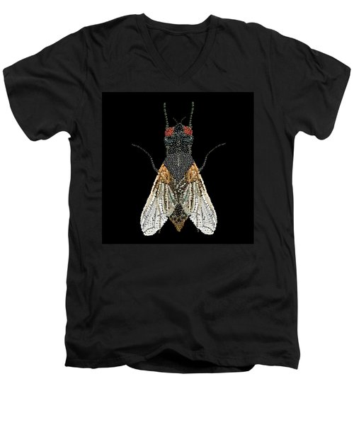 House Fly Bedazzled Men's V-Neck T-Shirt