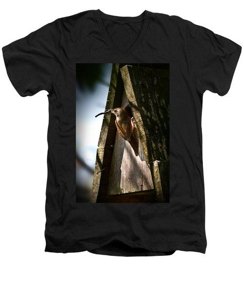 House Wren At Nest Box Men's V-Neck T-Shirt