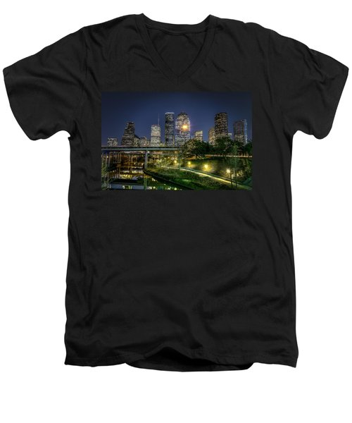Houston On The Bayou Men's V-Neck T-Shirt