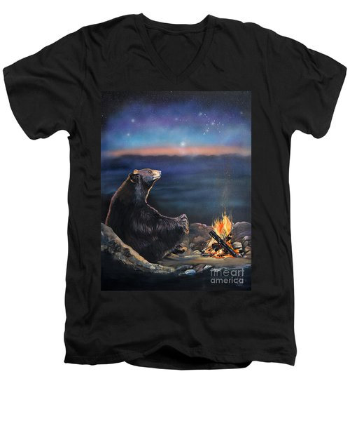 How Grandfather Bear Created The Stars Men's V-Neck T-Shirt by J W Baker