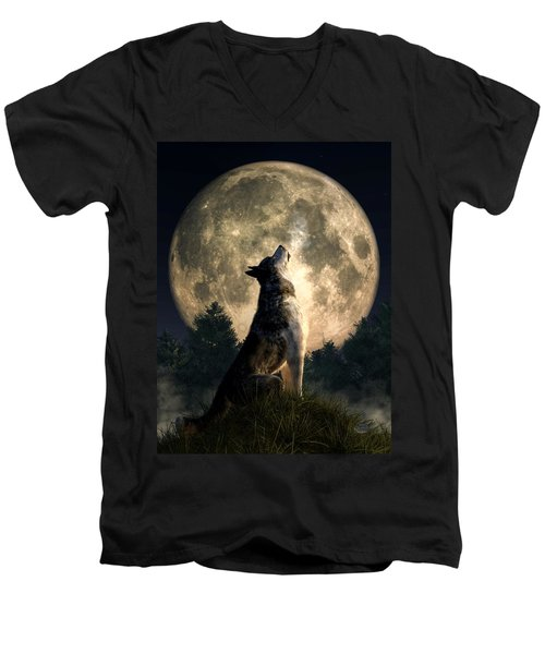 Howling Wolf Men's V-Neck T-Shirt