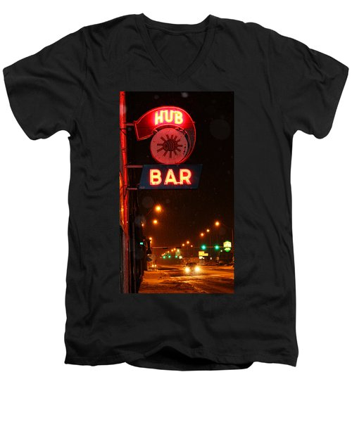 Hub Bar Snowy Night Men's V-Neck T-Shirt