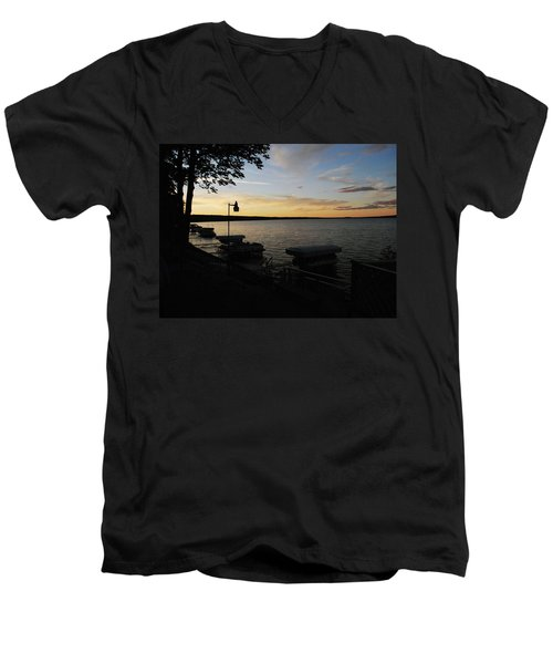 Hubbard Lake Sunset Men's V-Neck T-Shirt