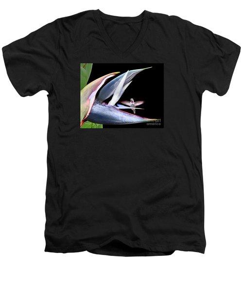 Men's V-Neck T-Shirt featuring the photograph Hummingbird Paradise by Jennie Breeze