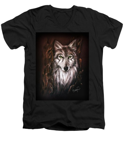 Hunter In The Night Men's V-Neck T-Shirt by Patricia Lintner