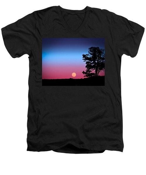 Men's V-Neck T-Shirt featuring the photograph Hunter's Moonrise In Eastern Arizona by John Haldane