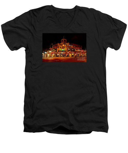 Huntington Beach Downtown Nightside 1 Men's V-Neck T-Shirt by Jim Carrell