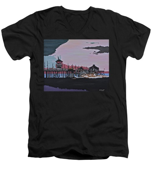 Huntington Beach Pier 1 Men's V-Neck T-Shirt