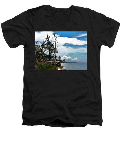 Men's V-Neck T-Shirt featuring the photograph Hurricane Trail by Faith Williams
