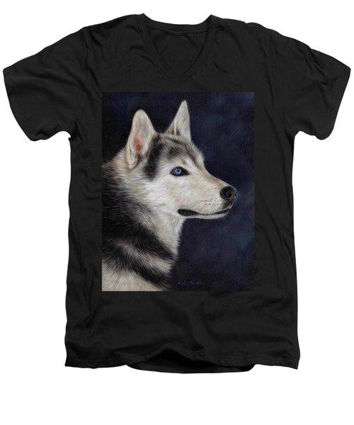 Husky Portrait Painting Men's V-Neck T-Shirt