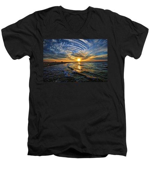 Hypnotic Sunset At Israel Men's V-Neck T-Shirt