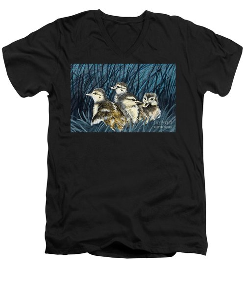 Men's V-Neck T-Shirt featuring the painting Spring Is Right Around The Corner by Jennifer Lake