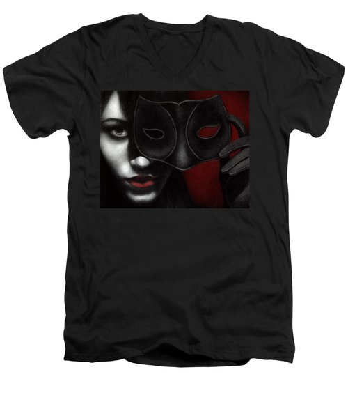 Men's V-Neck T-Shirt featuring the painting I Am Only What I Allow You To See by Pat Erickson