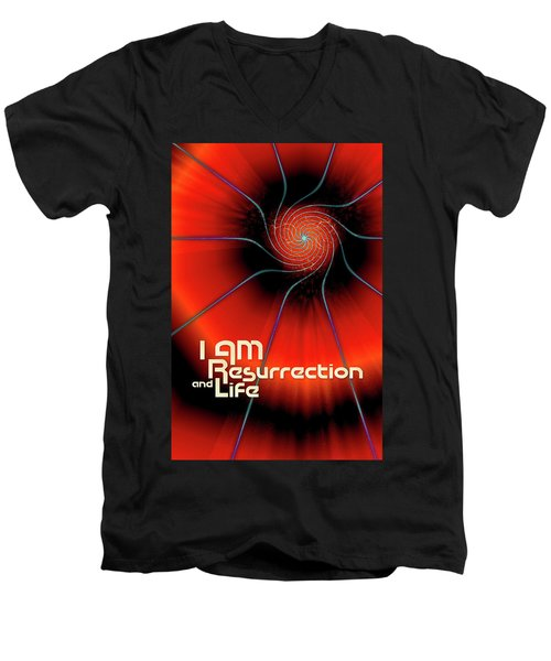 I Am Resurrection And Life Men's V-Neck T-Shirt by Chuck Mountain