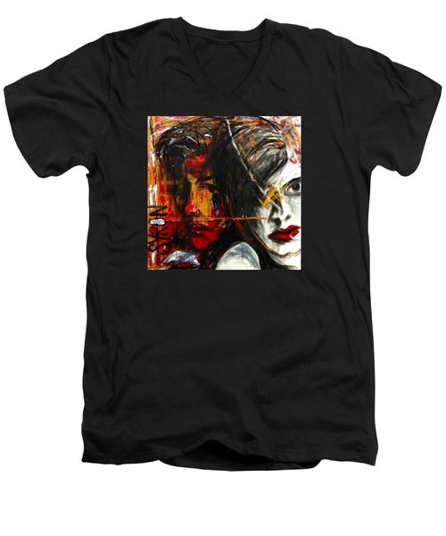 Men's V-Neck T-Shirt featuring the drawing I Feel You by Helen Syron