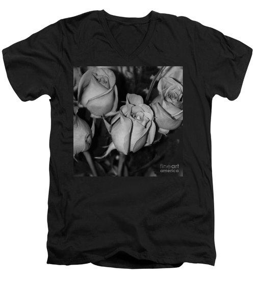 Black And White Roses Men's V-Neck T-Shirt